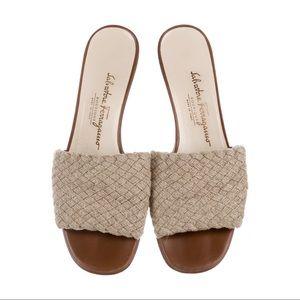 Salvatore Ferragamo Woven Jute Slide Sandals